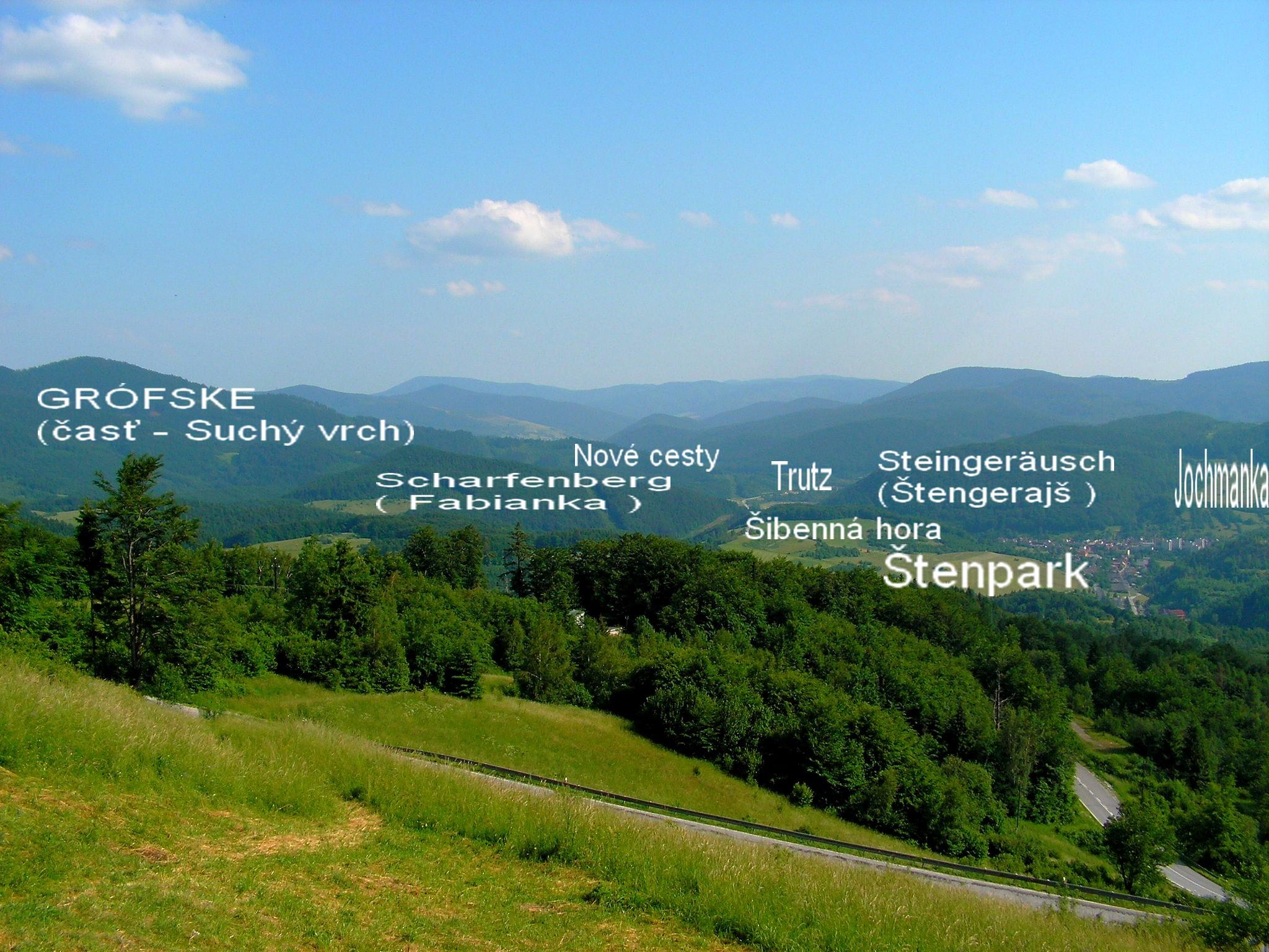 Popis vrchov  spodnej,východnej časti. V okolí Trutzu.