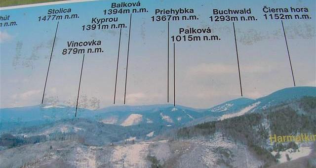 Foto z orientačnej tabule na Dobšinskom kopci 1