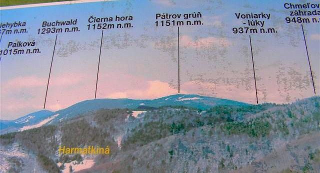 Foto z orientačnej tabule na Dobšinskom kopci 2