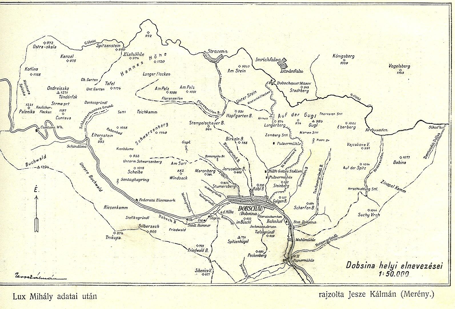 Chotárne názvy Dobsiná  600 výročie z r. 1927.